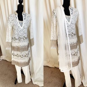 Dresses & Skirts - Pakistani Outfit in white and light gold